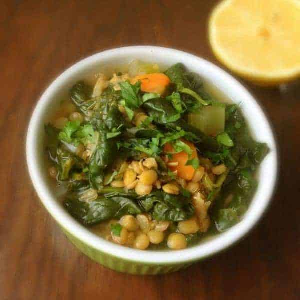 Lebanese Lentil and Spinach Soup - The Lemon Bowl