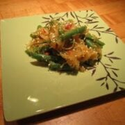 Garlic Sesame Spaghetti Squash and Green Beans