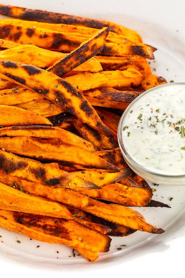baked sweet potato rosemary fries on a plate