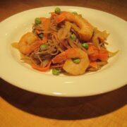Soba Noodles with Shrimp in Peanut Sauce