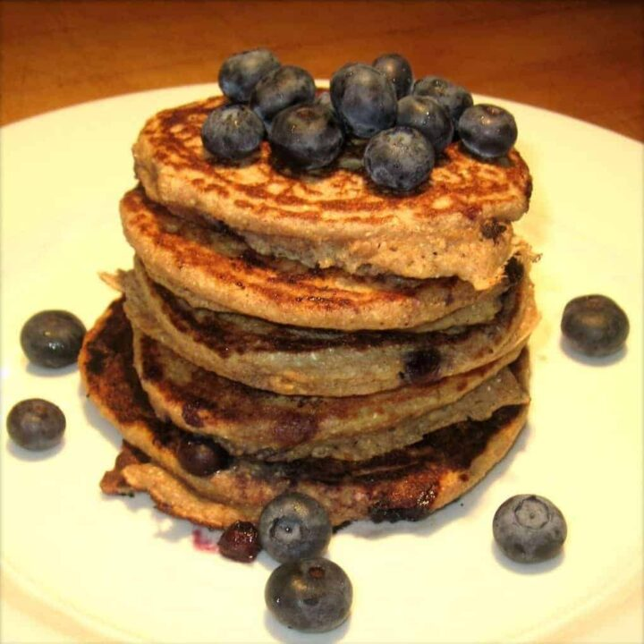 Healthy Banana Blueberry Pancakes