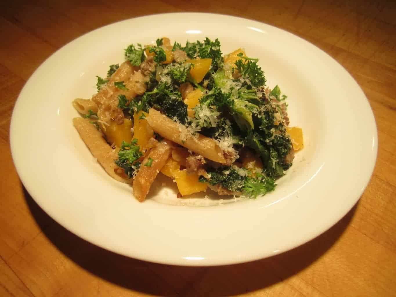 Butternut Squash Kale Sausage Pasta