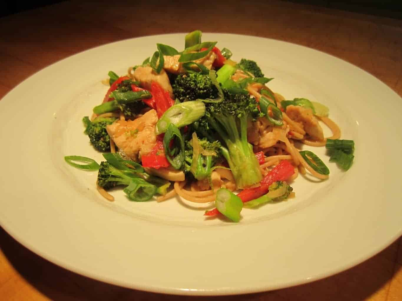 Chicken, Broccoli and Noodles in Peanut Sauce