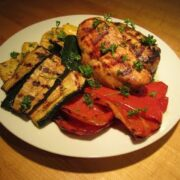Marinated Grilled Chicken Breasts and Veggies
