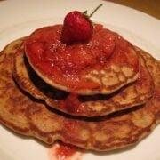 Banana Buckwheat Pancakes with Strawberry Syrup