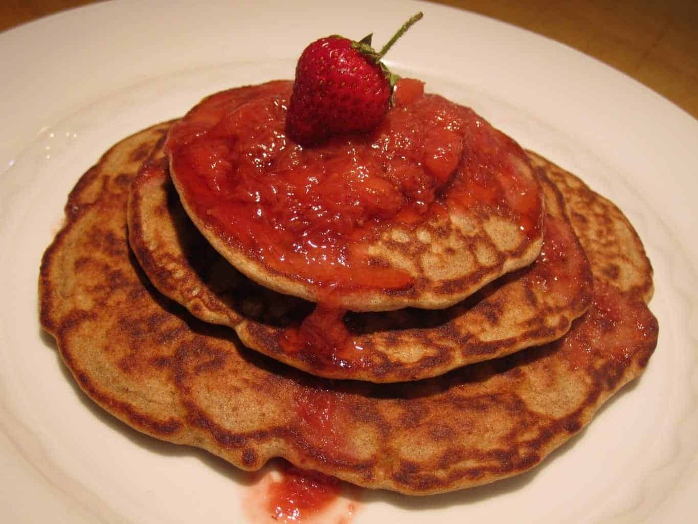 Banana Pancakes with strawberry Syrup