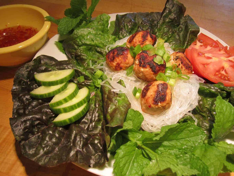Vietnamese Turkey Meatballs Noodle Bowl