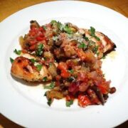 Eggplant Caponata with Grilled Chicken