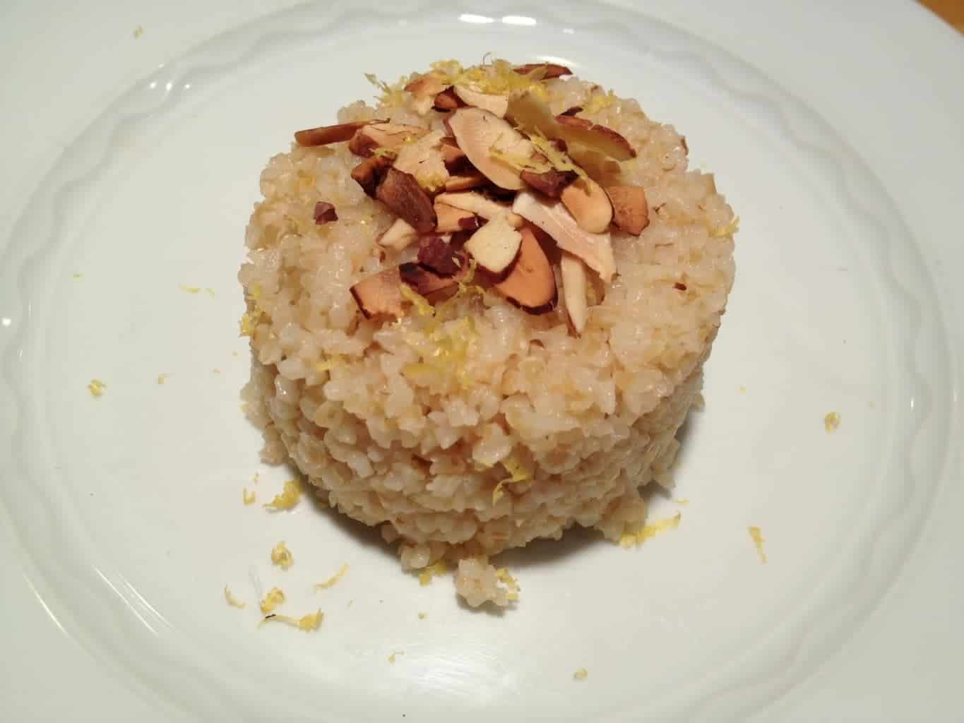 Lemon Scented Bulgur Wheat with Toasted Almonds
