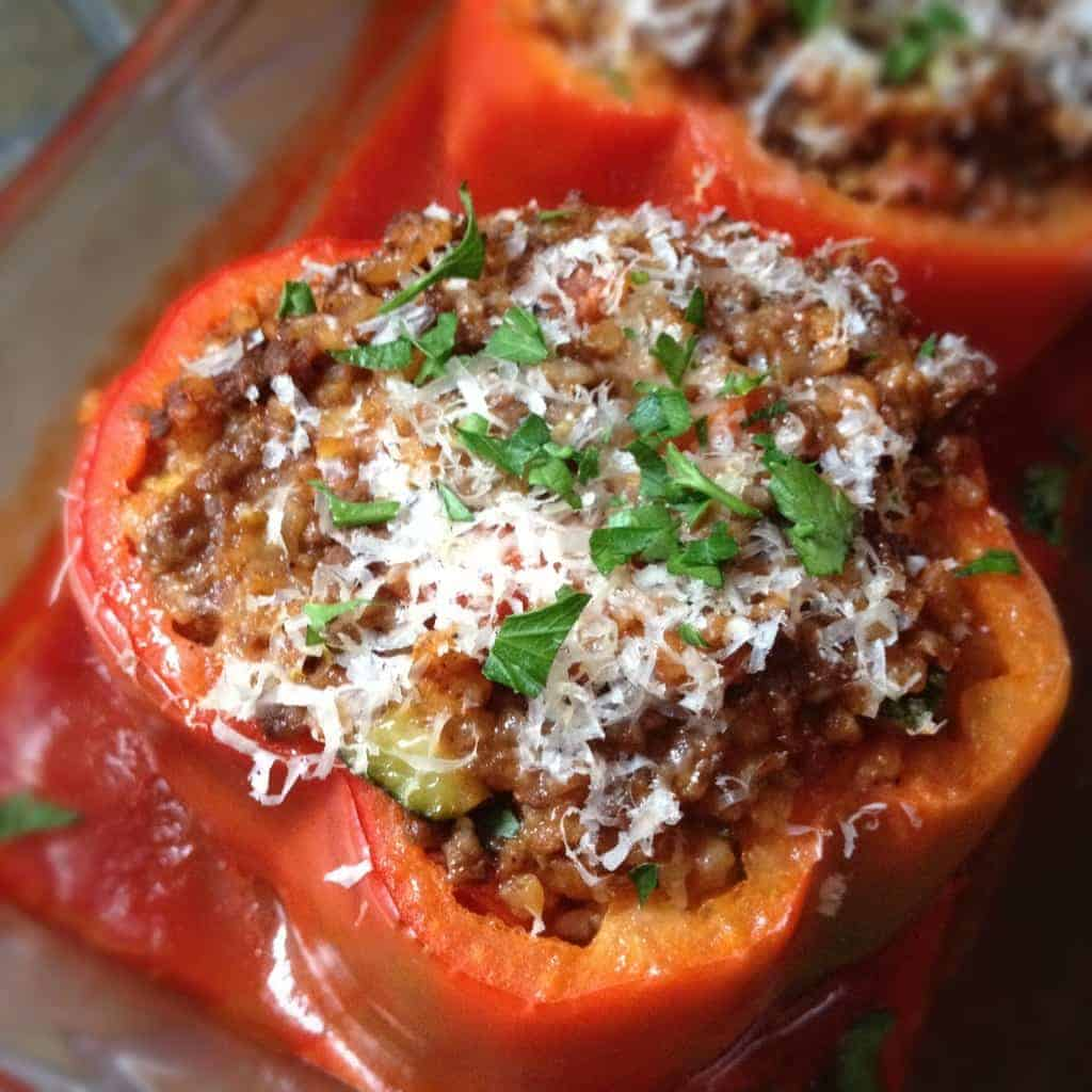 Stuffed Peppers with Beef and Bulgur Wheat