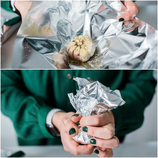 wrapping garlic in tin foil