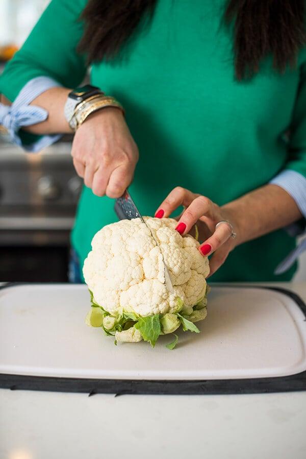cauliflower being cut