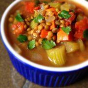 Slow Cooker Lentil Soup with Bacon - The Lemon Bowl