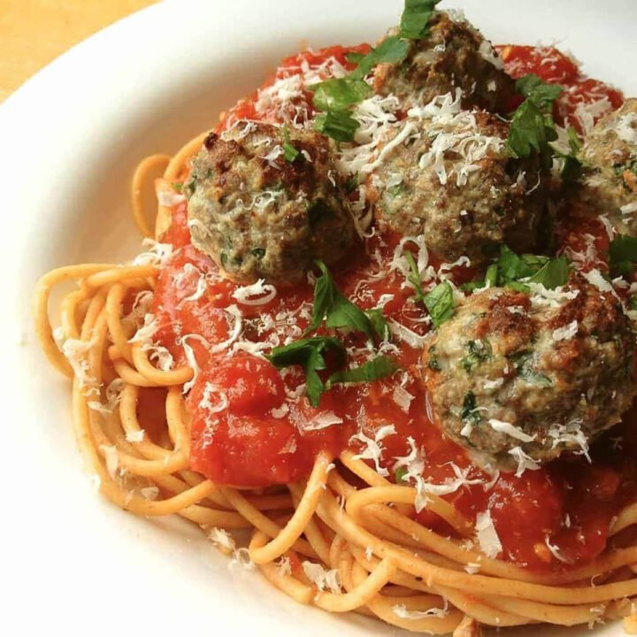 Beef and Ricotta Meatballs on a plate