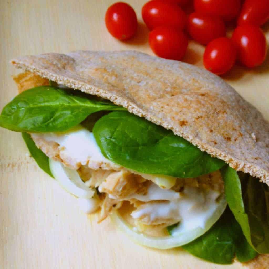Roasted Pork Pita Sandwich with Creamy Horseradish Sauce