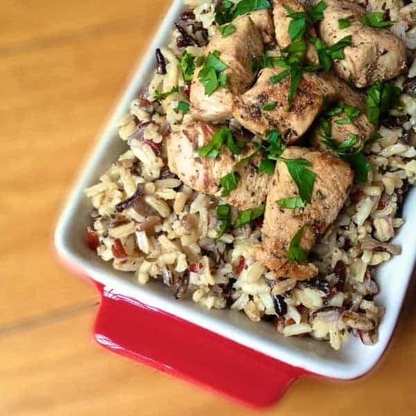 Chicken Souvlaki with Wild and Brown Rice - The Lemon Bowl