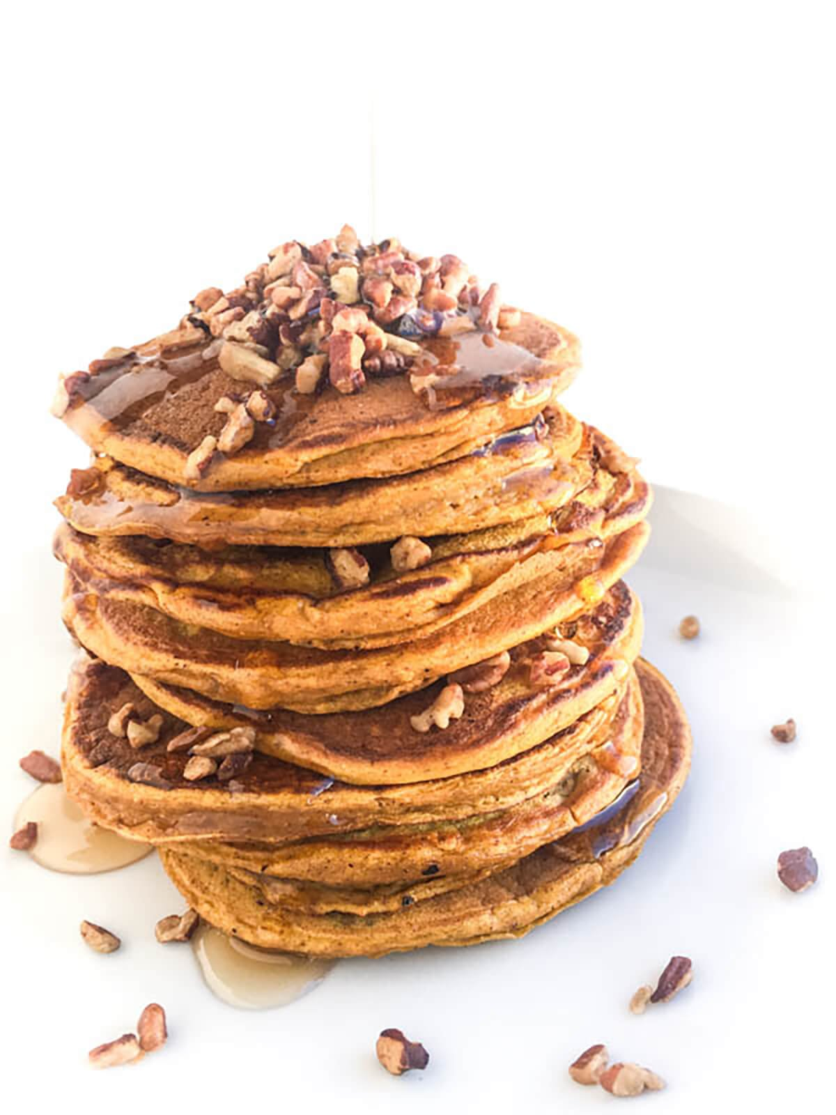 pumpkin pancakes with pecan topping