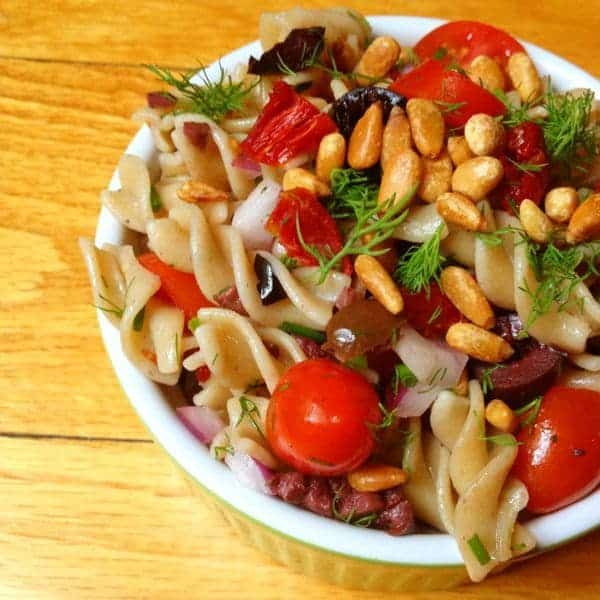 Pasta Salad with Tomatoes, Olives and Toasted Pine Nuts