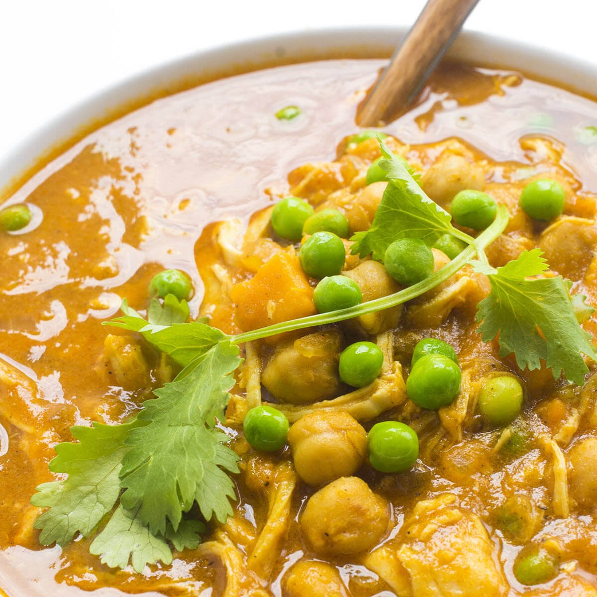 Slow Cooker Chicken Curry closeup in a bowl