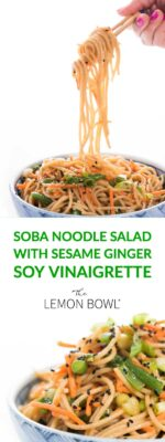SOBA NOODLE SALAD WITH SESAME GINGER SOY VINAIGRETTE
