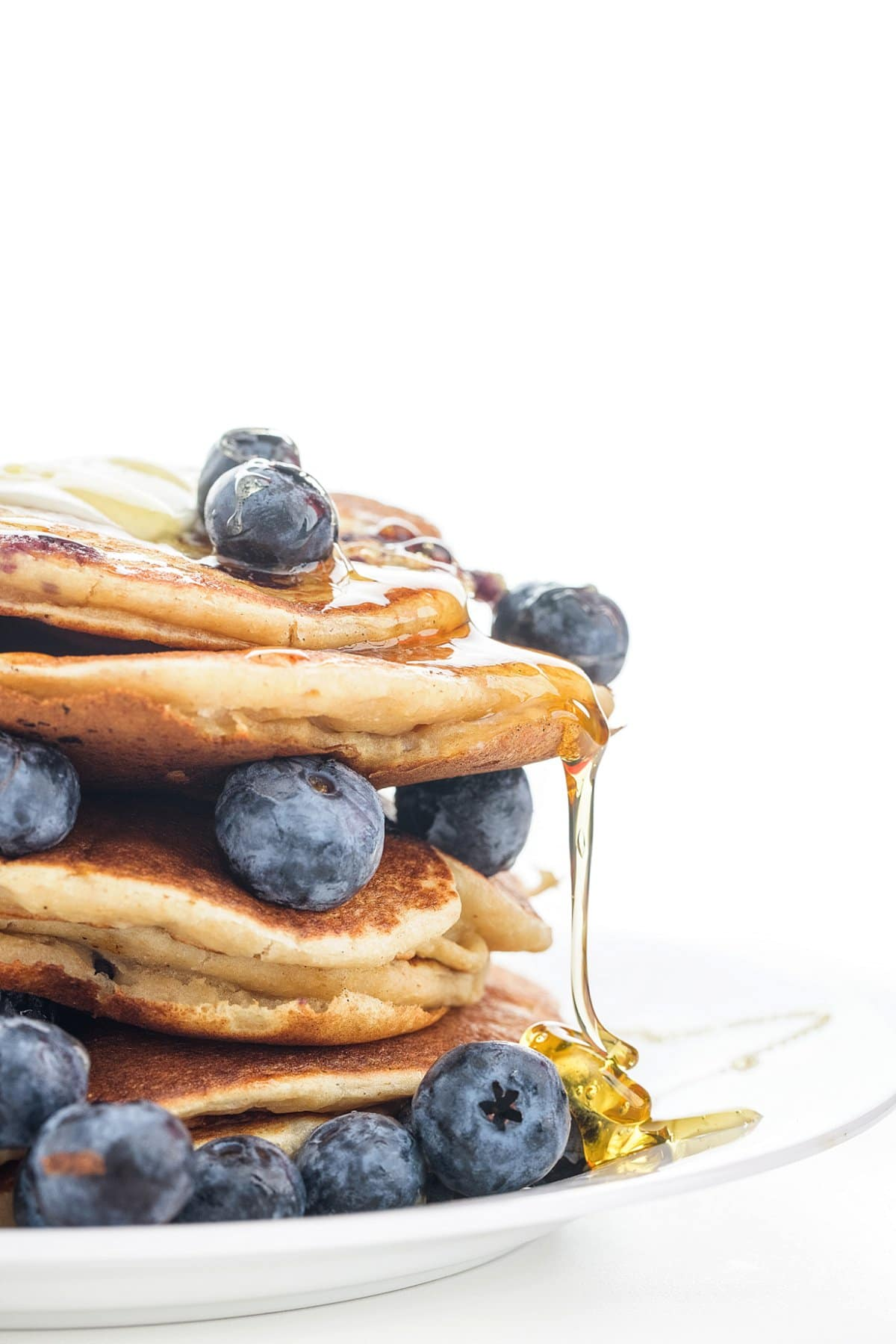Stack of blueberry banana pancakes made with ricotta