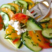 Heirloom Tomato and Cucumber Salad with Goat Cheese Fork - The Lemon Bowl
