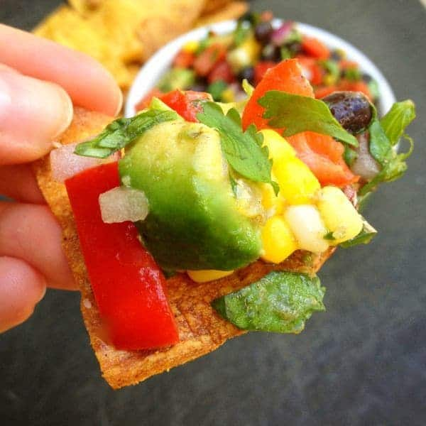 Tortilla Chip with Avocado, Black Bean and Corn Salsa - The Lemon Bowl