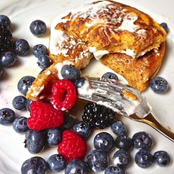 Gluten Free Pumpkin Pancakes with Berries and Maple Yogurt Topping - The Lemon Bowl