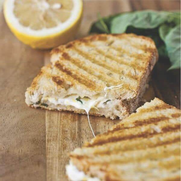 Lemon-Basil Grilled Cheese Panini Square - The Lemon Bowl