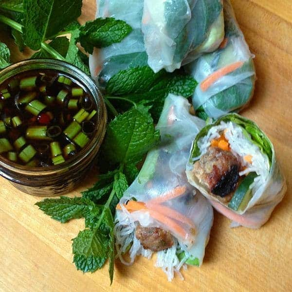 Vietnamese Fresh Rolls with BBQ Pork Meatballs - The Lemon Bowl