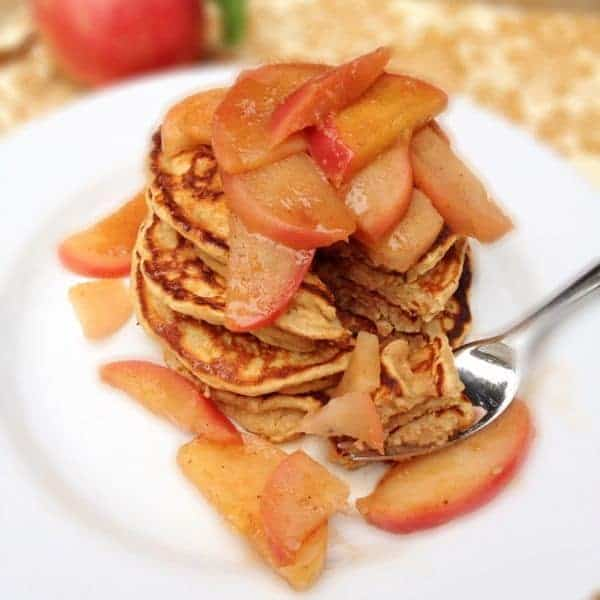 Whole Grain Pancakes with Warm Apple Topping - The Lemon Bowl