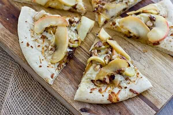 Apple Cheddar Pizza with Caramelized Onions and Walnuts - Oh My Veggies