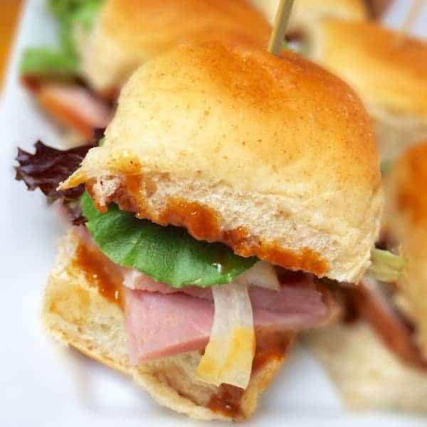 Ham Sliders with Sriracha Hoisin Mayo