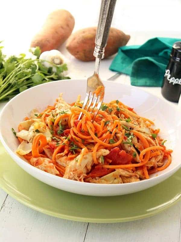 Sweet Potato Noodles with Chicken and Artichokes - The Lemon Bowl
