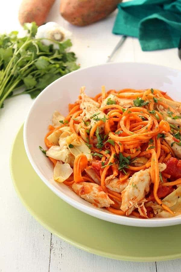 Sweet Potato Noodles with Roasted Artichokes and Chicken - The Lemon Bowl