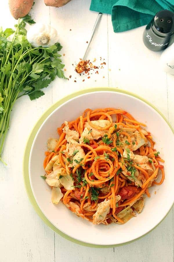 Tomato Sweet Potato Noodles with Roasted Artichokes and Chicken - The Lemon Bowl