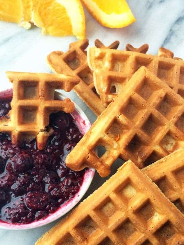 Waffles with Orange Berry Compote
