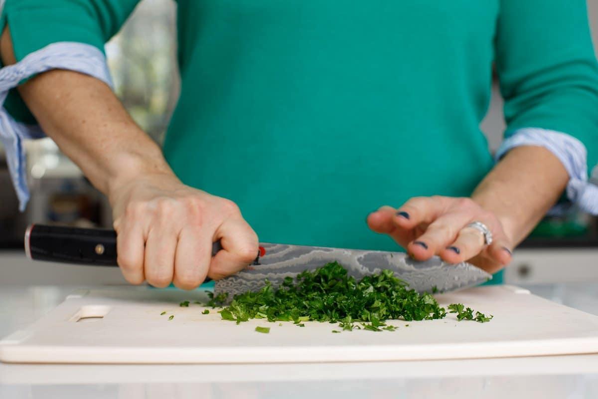Soup seasoning being chopped
