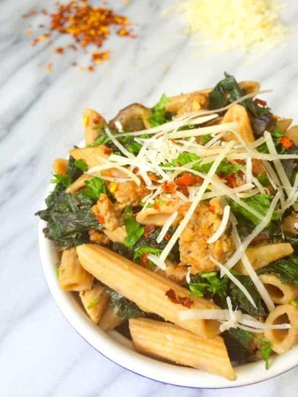 Sausage, Kale and Eggplant Pasta - The Lemon Bowl