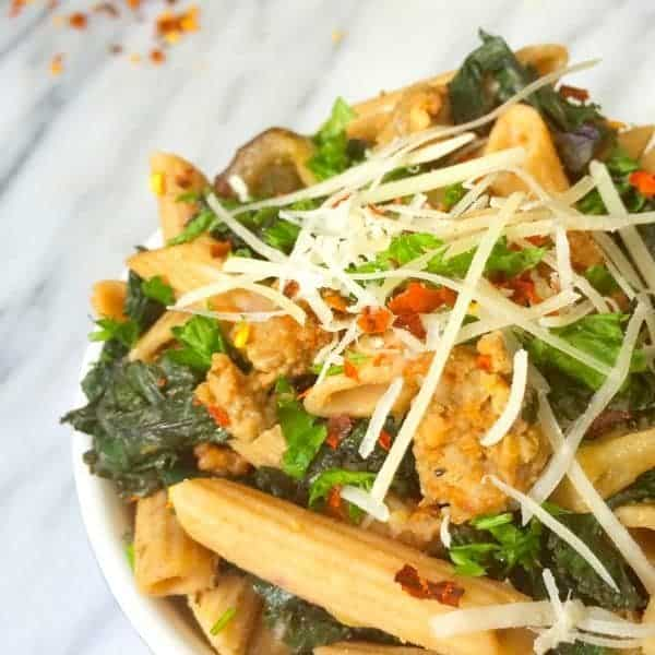 Sausage, Kale and Eggplant Pasta by The Lemon Bowl
