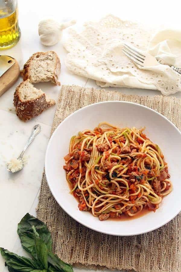 Turkey Bolognese Zucchini Pasta by The Lemon Bowl
