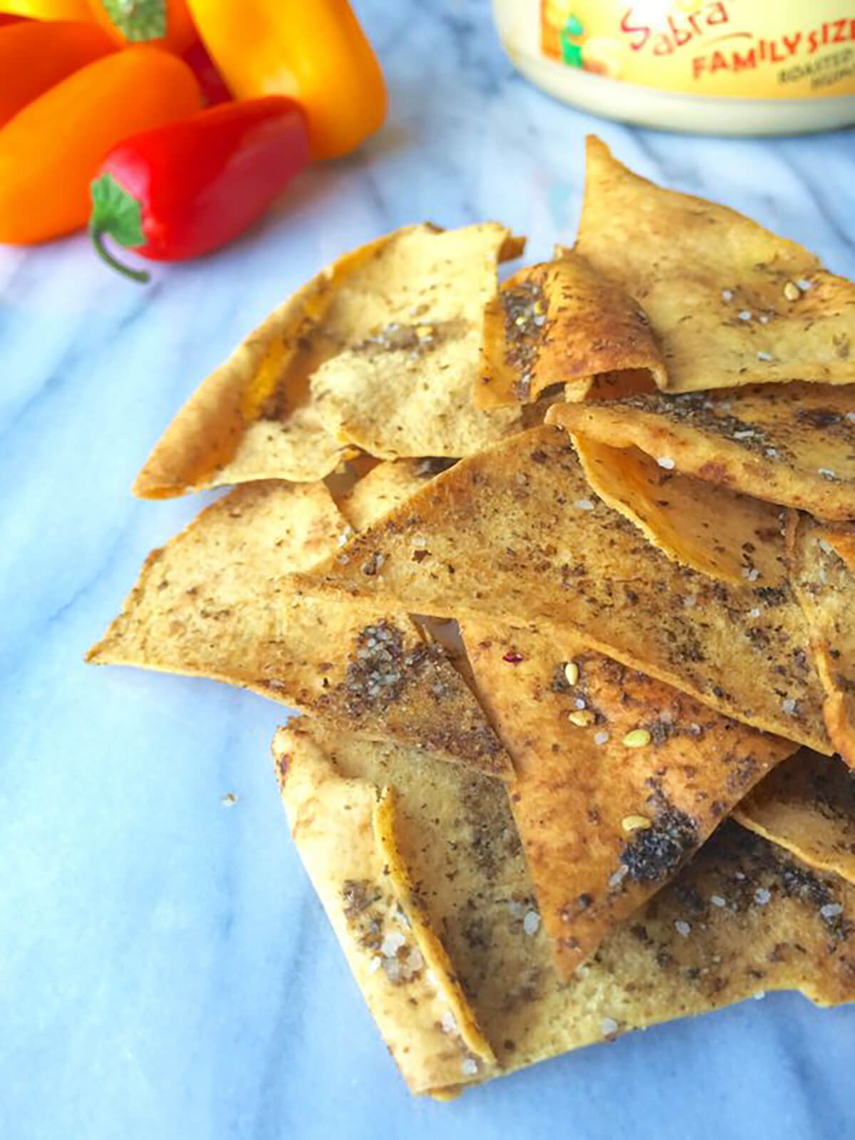 pita chips on a table
