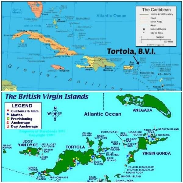 Tortola Map - The Lemon Bowl