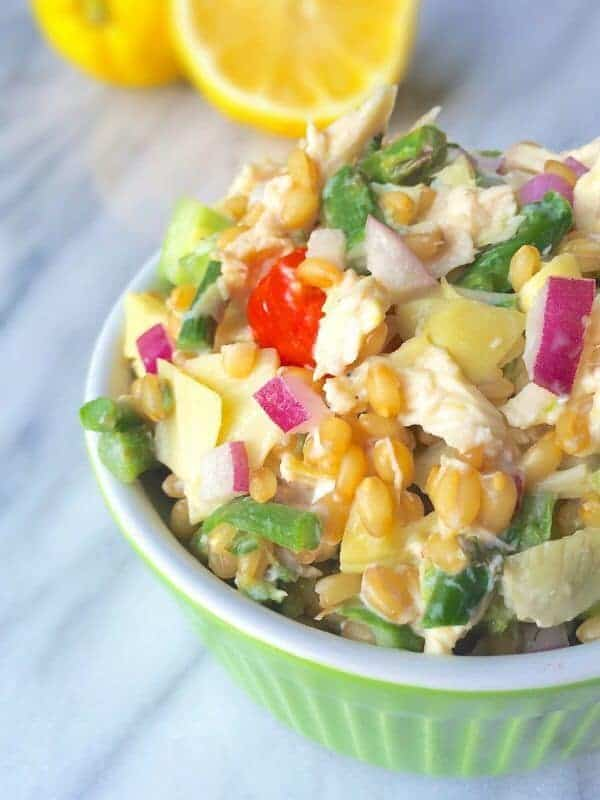 Wheat Berry Chicken Salad with Asparagus, Artichokes and Goat Cheese - The Lemon Bowl
