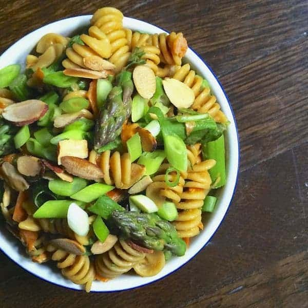 Asparagus Pasta Salad with Creamy Peanut Dressing by The Lemon Bowl
