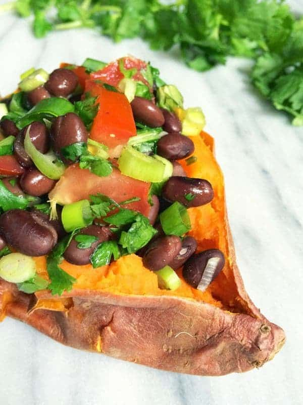 Black Bean Salsa Stuffed Sweet Potatoes - The Lemon Bowl