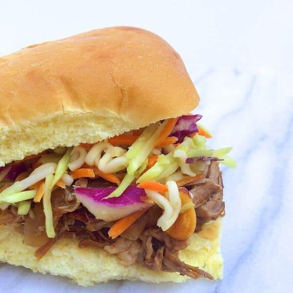 Chinese BBQ Pulled Pork Sliders With Broccoli Slaw