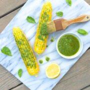 Corn on the Cob with Lemon Basil Pesto - The Lemon Bowl