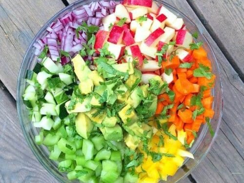Rainbow Chopped Salad With Apples And Avocados