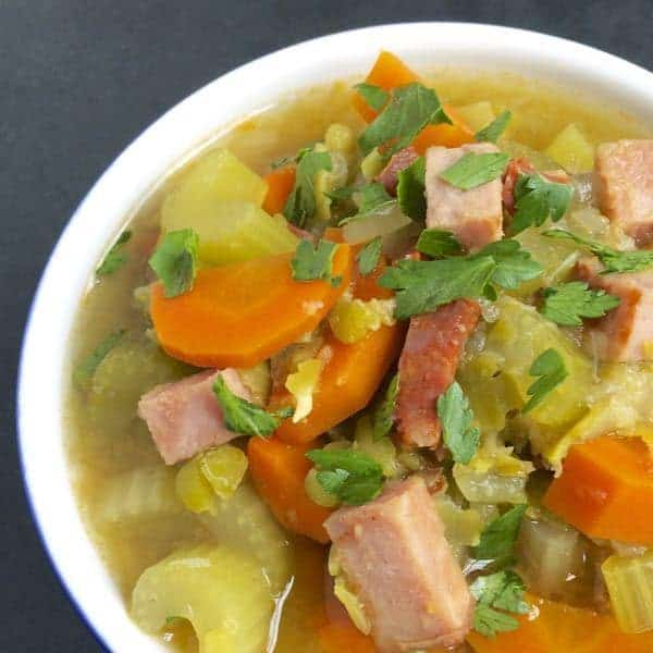 Slow Cooker Split Pea Soup with Chorizo and Ham - The Lemon Bowl